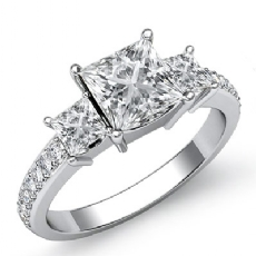 3 Stone Sidestone Prong Set Princess diamond engagement Ring in 14k Gold White