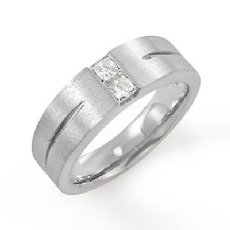 Matte Finish Groove 2 Diamond Men's Half Wedding Band in 14k White Gold 0.30 Ct