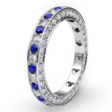 Pave Eternity Sapphire Diamond Womens Engagement Band 14k White Gold Ring 1.4Ct