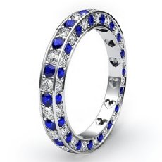 Women Pave Set Eternity Sapphire Diamond Wedding Band 14k White Gold Ring 1.4Ct