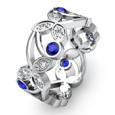 Diamond Round Sapphire Eternity Women's Wedding Ring Band 14k White Gold 0.55Ct