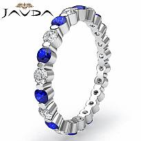 Women's Round Sapphire Diamond Eternity Wedding Ring 14k White Gold Band 1.4Ct