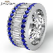 Baguette Round Sapphire Diamond Eternity Band 14k White Gold Wedding Ring 5.4Ct