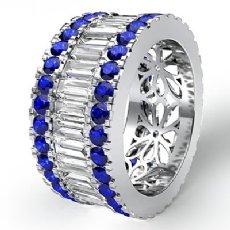 Baguette Round Sapphire Diamond Eternity Band 14k White Gold Wedding Ring 5.4Ct