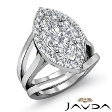 Halo Pave Set Trio Shank Marquise diamond engagement Ring in 14k Gold White
