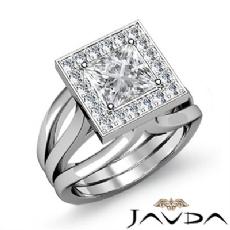 Halo Pave Set Trio Shank Princess diamond engagement Ring in 14k Gold White