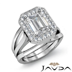 Halo Pave Set Trio Shank Emerald diamond engagement Ring in 14k Gold White