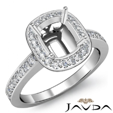 Diamond Engagement Cushion Semi Mount Halo Pre-Set Ring 14k White Gold 0.36Ct