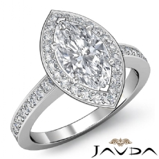 Halo Pave Side-Stone Filigree Marquise diamond engagement Ring in 14k Gold White