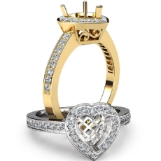 Halo Pave Setting Diamond Engagement Ring Heart Semi Mount 18k Gold Yellow  (0.35Ct. tw.)