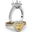 Halo Pave Setting Diamond Engagement Ring Heart Semi Mount 14k White Gold 0.35Ct - javda.com