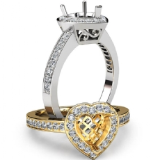 Halo Pave Setting Diamond Engagement Ring Heart Semi Mount 14k White Gold 0.35Ct