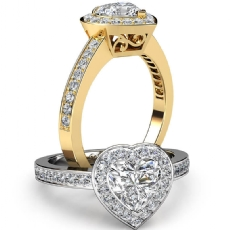 Filigree Halo Pave Set Heart diamond engagement Ring in 18k Gold Yellow