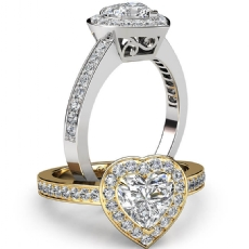 Filigree Halo Pave Set Heart diamond engagement Ring in 14k Gold White
