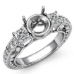 Three 3 Stone Diamond Engagement Ring Princess Round Semi Mount  14k White Gold 0.4Ct - javda.com