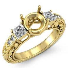Three 3 Stone Diamond Engagement Ring Princess Round Semi Mount  18k Gold Yellow  (0.4Ct. tw.)