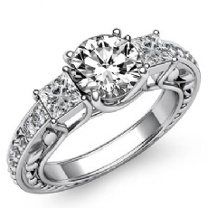 Vintage Trellis Three Stone Round diamond engagement Ring in 14k Gold White