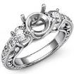Round Diamond 3 Stone Engagement Ring Vintage SemiMount Setting 14k White Gold 0.45Ct - javda.com