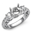 Round Diamond 3 Stone Engagement Ring Vintage SemiMount Setting 14k White Gold 0.45Ct - javda.com