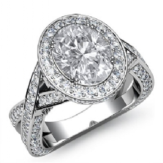 Halo Pave Set Cross Shank Oval diamond engagement Ring in 14k Gold White
