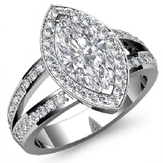 Halo Split-Shank Pave Set Marquise diamond engagement Ring in 14k Gold White