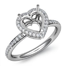 Heart Cut Diamond Engagement Semi Mount Ring 14K White Gold Halo Setting 0.53Ct