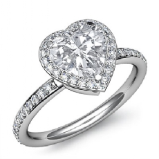Pave Setting Halo Sidestone Heart diamond engagement Ring in 14k Gold White