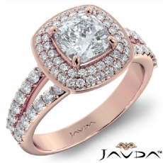 Double Halo Pave Split Shank Cushion diamond engagement Ring in 18k Rose Gold