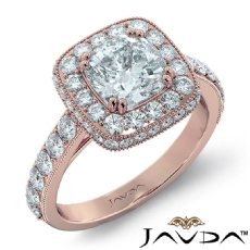 Milgrain Circa Halo Basket Set Cushion diamond engagement Ring in 18k Rose Gold