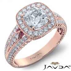Halo Pave Set Filigree Design Cushion diamond engagement Ring in 18k Rose Gold