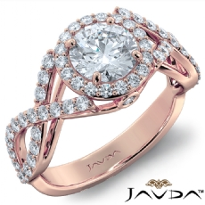 Criss Cross Halo Pave Accents Round diamond engagement Ring in 18k Rose Gold