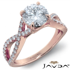 Cross Shank French Pave Set Round diamond engagement Ring in 18k Rose Gold