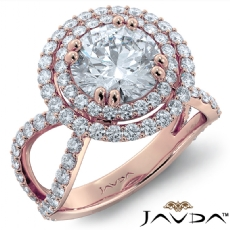 Duet Halo Pave Split Shank Round diamond engagement Ring in 18k Rose Gold