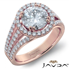 Split U Pave Wide Shank Round diamond engagement Ring in 18k Rose Gold
