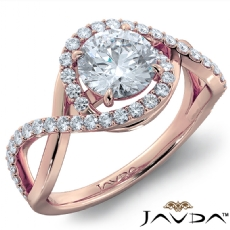 Twisted Halo Micro Pave Set Round diamond engagement Ring in 18k Rose Gold