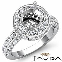 Diamond Engagement Round Ring Platinum 950 Halo Pave Setting Semi Mount (0.7Ct. tw.)