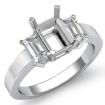 Three 3 Stone Anniversary Ring Emerald Shape Diamond Semi Mount 14k White Gold 0.4Ct - javda.com