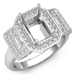 Round Diamond 3 Stone Anniversary Emerald Semi Mount Ring Setting 14k White Gold 0.95Ct - javda.com