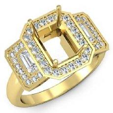 Round Diamond 3 Stone Anniversary Emerald Semi Mount Ring Setting 18k Gold Yellow  (0.95Ct. tw.)