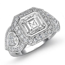 Three Stone Bezel Setting Asscher diamond engagement Ring in 14k Gold White