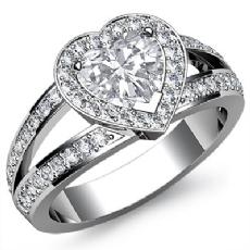 Halo Filigree Split Shank Heart diamond engagement Ring in 14k Gold White