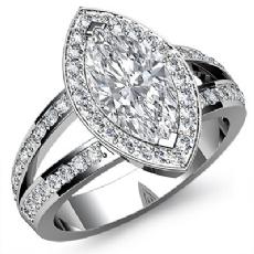 Halo Filigree Split Shank Marquise diamond engagement Ring in 14k Gold White