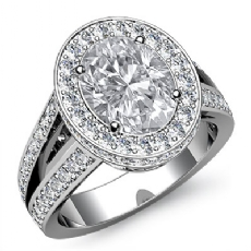 Circa Halo Pave Split Shank Oval diamond engagement Ring in 14k Gold White