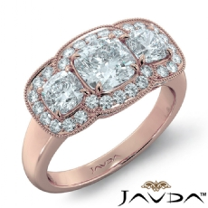 3 Stone Halo Milgrain Filigree Cushion diamond engagement Ring in 18k Rose Gold