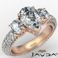 Micro Pave Set Three Stone Pear diamond engagement Ring in 18k Rose Gold