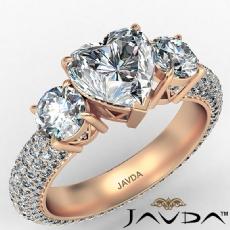Micro Pave Set Three Stone diamond Ring 14k Rose Gold