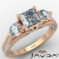 Three Stone Bridge Accent Princess diamond engagement Ring in 18k Rose Gold