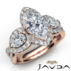 Marquise diamond engagement Ring in 14k Rose Gold