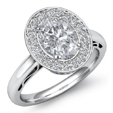 Halo Filigree Pave Setting Oval diamond engagement Ring in 14k Gold White