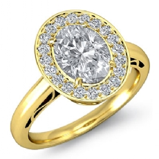 Halo Filigree Pave Setting Oval diamond engagement Ring in 18k Gold Yellow